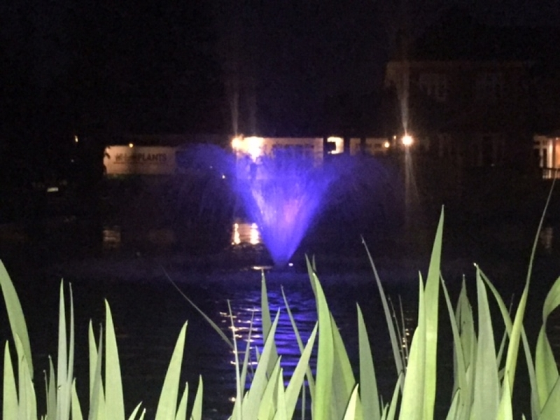 Otterbine Fractional series aerating fountain in Chigwell, Essex with RGB LED lights