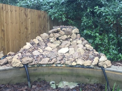 Communal pond waterfall repair and aquatic vegetation installation Camberley, Surrey