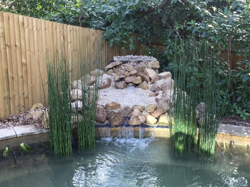 Communal pond waterfall repair and aquatic vegetation installation Camberley, Surrey