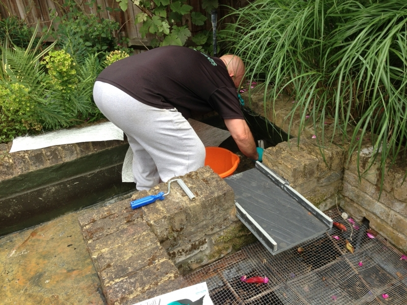 Pond clean and re sealing using GRP in Chiswick, London
