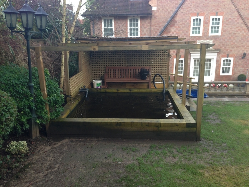 Raised pond clean in Hampstead, London