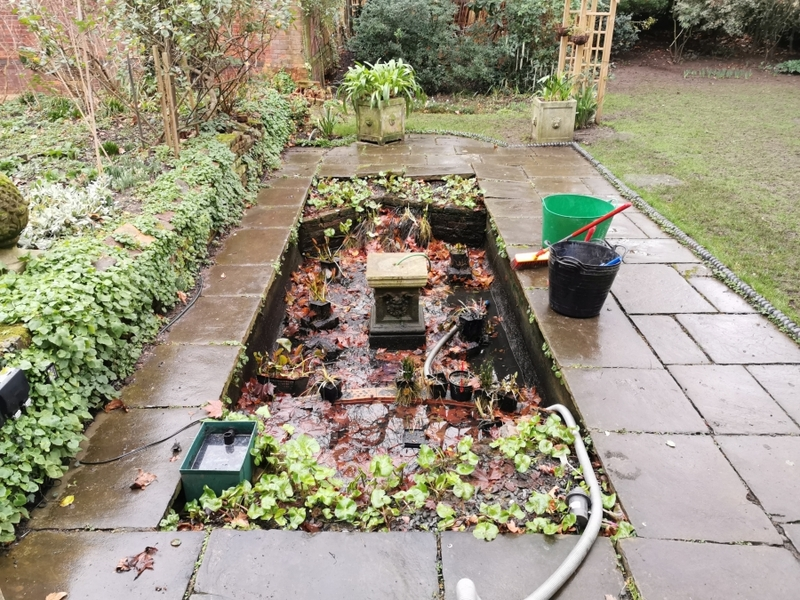 Pond clean and fountain installation in Cannonbury, Islington, London.
