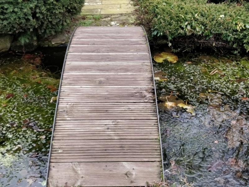 Pond clean, Bridge repair and aeration installation in Bury St Edmunds, Suffolk.