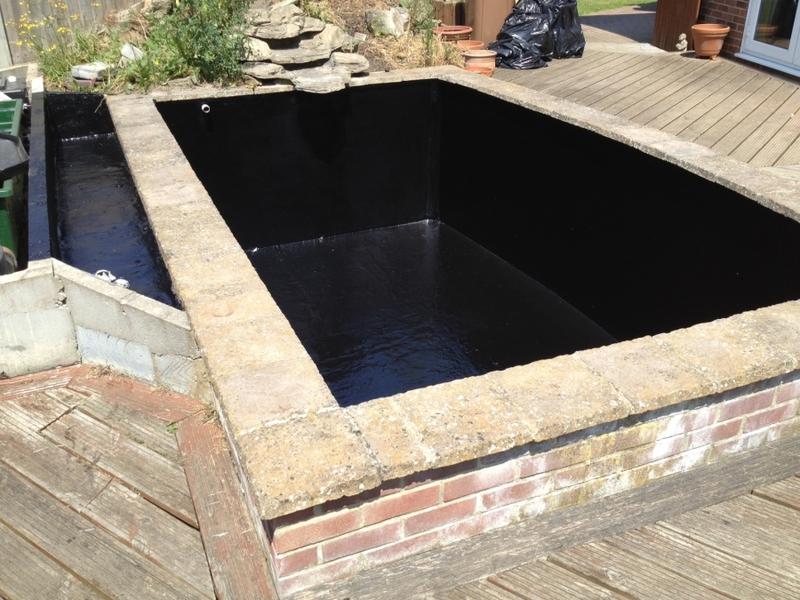 Koi pond fibreglassing in Kelvedon Hatch, Brentwood, Essex.