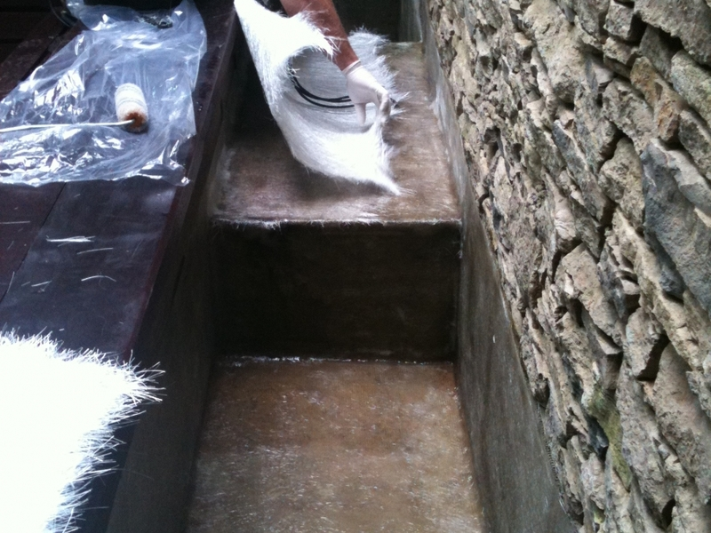 Waterfeature resealing with fibreglass in Fitzrovia, London.