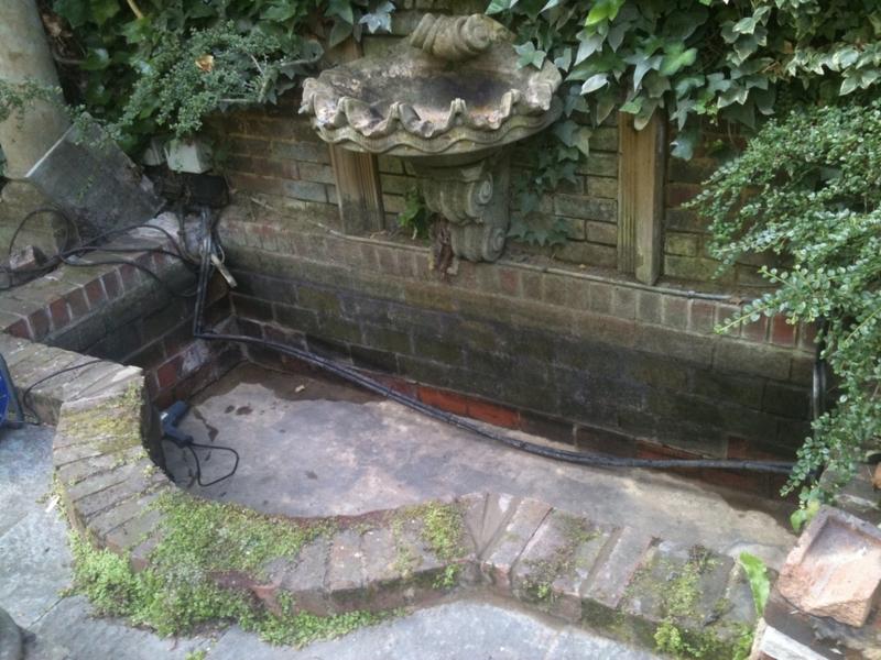 waterfeature resealing in Hampstead, London.