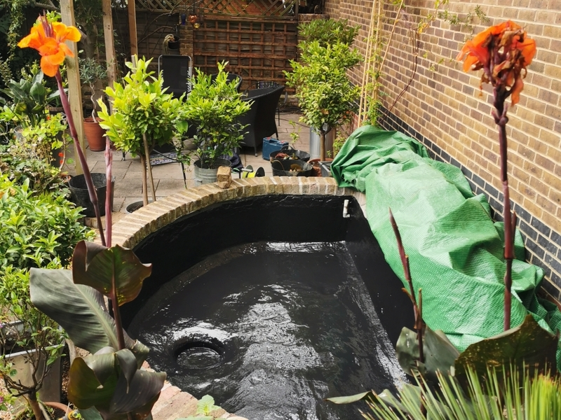 Urban garden pond resealing with impermax liquid rubber paint in Dalston, London.