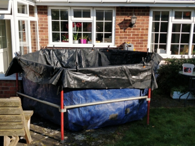 fish transportation, Holding tank hire and Box welded SealEco pond liner installation in Kirby-Le-Soken, Tendering, Essex.