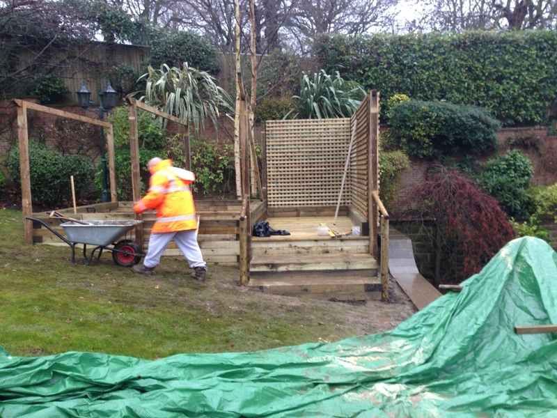 Raised pond construction in Hampstead, London.