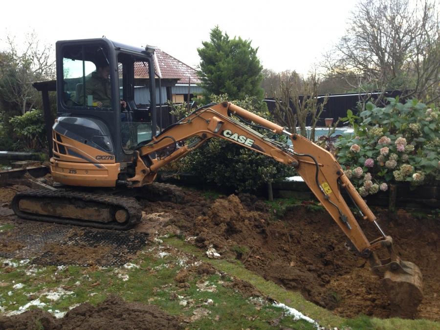 Railway sleeper pond construction Bulmer Tye Essex